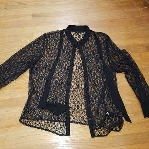 Black Lace Plus size button down shirt NWOT 2x